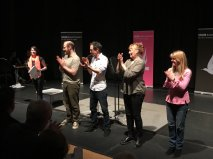 Organiser Louisa Hannan with the cast: Tomos James, Orlando Brooke, Jilly Bond and Belinda Peters